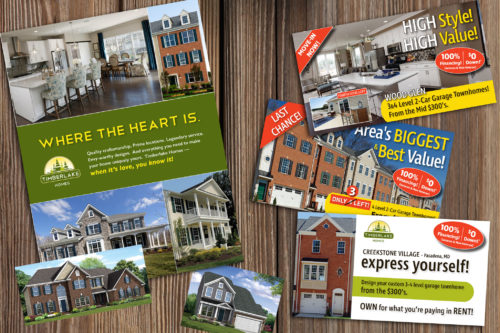 Samples of print materials designed for Timberlake Homes
