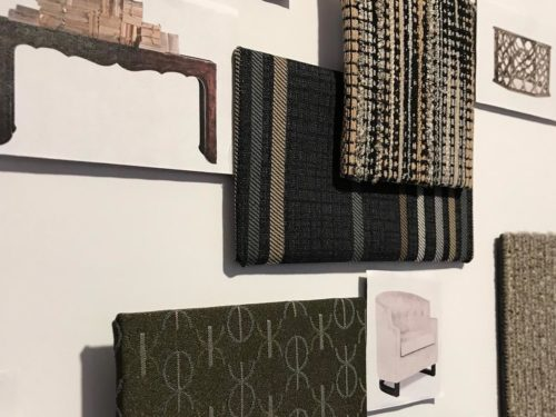 Picture of a wall featuring upholstery examples
