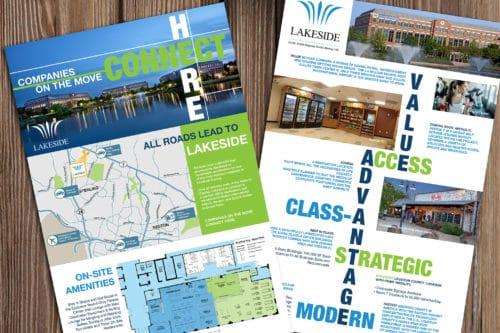 Samples of print materials designed for Lakeside Office Park