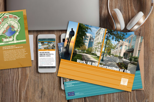 Samples of print materials designed for Trinity Centre Office Park