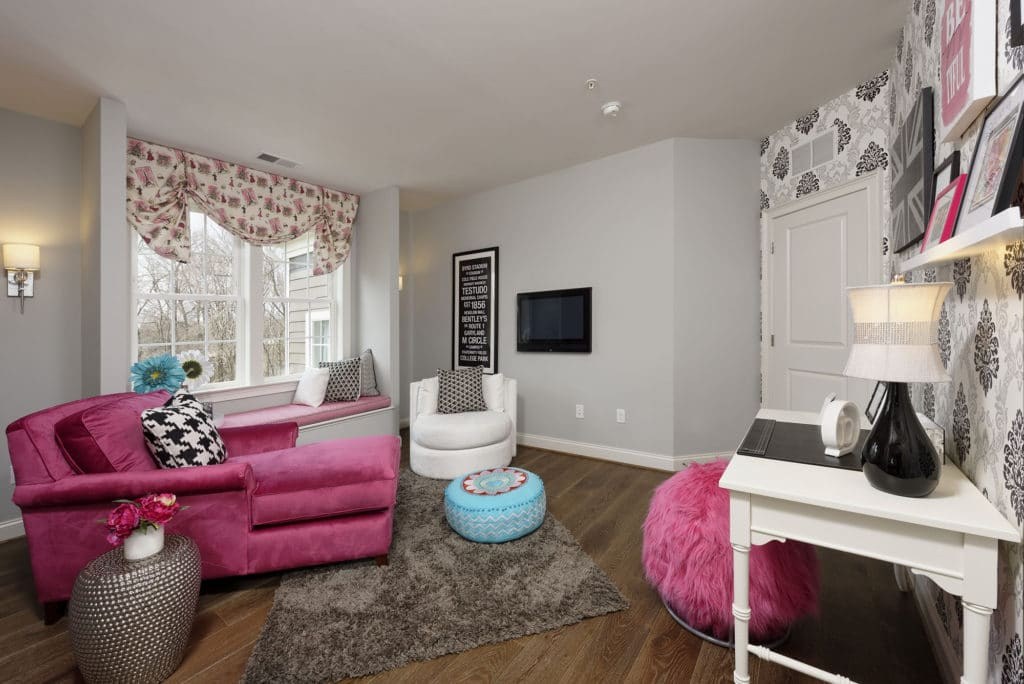 Stylish gray, black and pink teen girls room