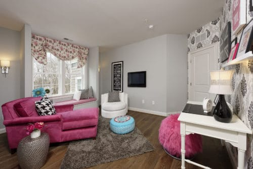 Stylish gray, black and pink teen girls room