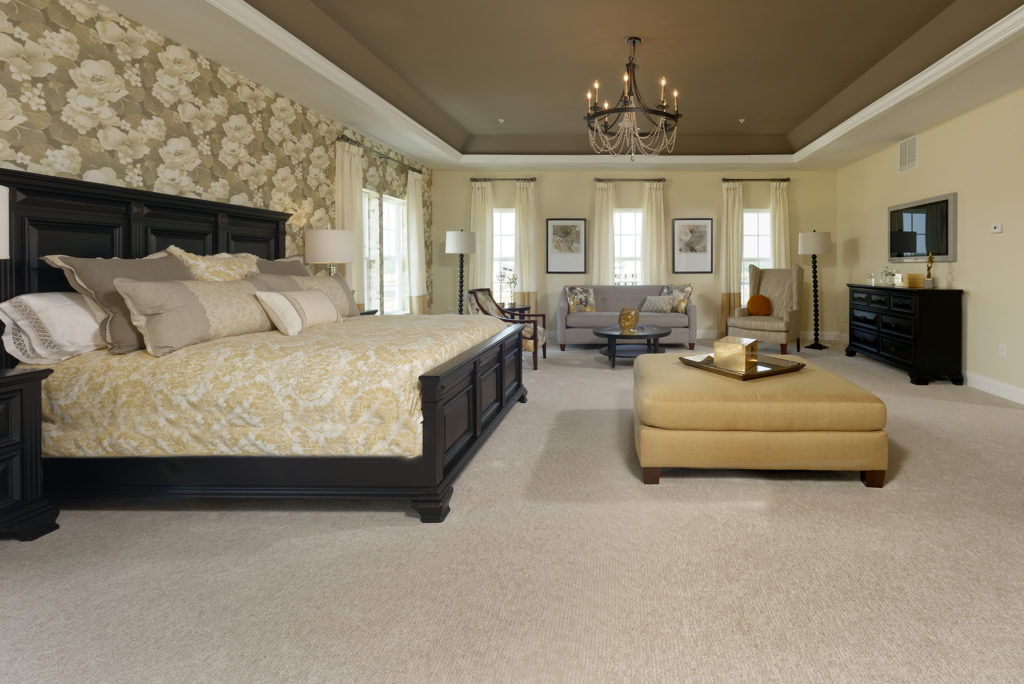Elegance personified! One of the most popular wallpapers we've spec'd; custom bedding & lighting by Progress