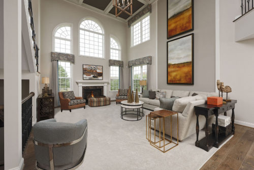 Two-story drama and elegance repurposing furnishings & art from a previous model home